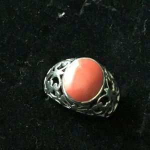 Jewelry - Vintage coral sterling silver ring